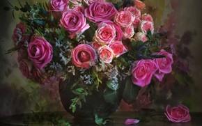 Обои розы, букет, ваза