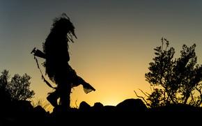 Картинка закат, вечер, силуэт, маскировка, снайпер, винтовка