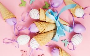 Картинка рожок, Happy, spring, eggs, фон, розовый, pink, вафельный, Easter, яйца, Пасха, бабочки, decoration, весна
