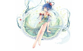 Картинка шарф, прическа, девочка, белый фон, браслет, сидит, голубые волосы, art, оборки, босая, Touhou Project, Проект …