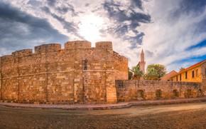 Обои Larnaka Medieval Castle, облака, Кипр, дорога, замок, Ларнака, стены