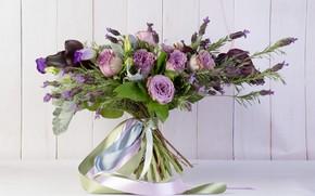Картинка ленты, розы, букет, ваза, хлопок, каллы