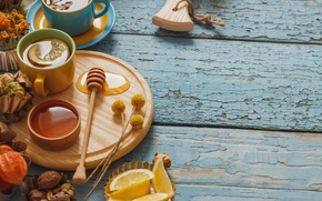 Картинка лимон, чай, мед, чашка, lemon, honey, травы, wood, cup, tea, herbal