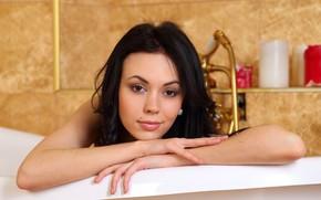 Картинка взгляд, лицо, модель, брюнетка, ванная комната, Karina, Darina, Joanna, Sheri Vi