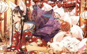 Картинка животное, аниме, арт, девочка, юката, екай