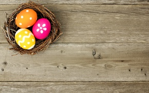 Картинка colorful, Пасха, гнездо, happy, wood, spring, Easter, eggs, holiday, basket, яйца крашеные