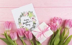 Картинка подарок, Love, букет, тюльпаны, wood, открытка, Celebration, Mothers day