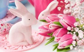 Обои весна, decoration, bunny, Easter, pastel, pink, Пасха, тюльпаны, tulips, happy, delicate, eggs, spring, flowers, цветы