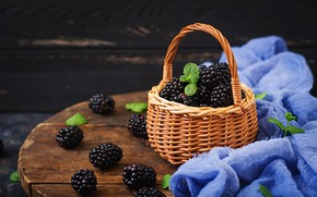 Обои ежевика, корзина, fresh, blackberry, wood, berries, ягоды