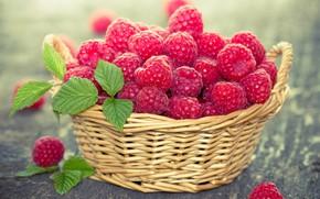 Картинка корзина, малина, ягоды