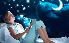 Картинка звезды, ночь, отдых, луна, кровать, ребенок, девочка, moon, пижама, планшет, night, child