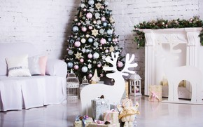 Картинка украшения, комната, игрушки, елка, Новый Год, Рождество, подарки, white, Christmas, design, wood, Merry Christmas, Xmas, ...