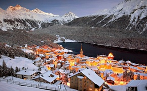 Картинка пейзаж, горы, огни, озеро, дома, Швейцария, Санкт-Мориц