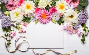 Картинка цветы, лента, wood, pink, flowers, beautiful, композиция, frame, floral