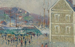 Картинка дом, корабль, картина, порт, городской пейзаж, Гюстав Луазо, Gustave Loiseau, The Basin of Berrigny. Fecamp