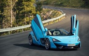 Картинка дорога, McLaren, spider, blue, 570S, Worldwide