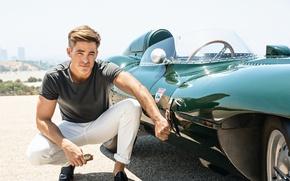 Картинка авто, солнце, тачка, актер, фотосессия, Крис Пайн, Chris Pine, 2016, Men's Fitness, Ben Watts