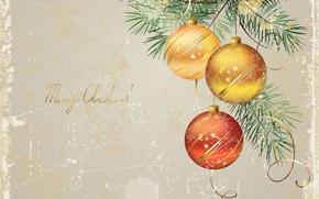 Картинка шарики, праздник, елка, Рождество, открытка
