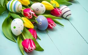 Картинка цветы, весна, colorful, Пасха, тюльпаны, wood, flowers, tulips, spring, Easter, eggs, decoration, Happy, яйца крашеные