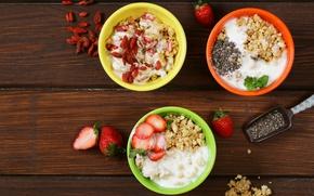 Картинка ягоды, завтрак, фрукты, орехи, мюсли, овсяные хлопья