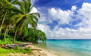 Обои облака, тропики, горизонт, небо, солнце, лодки, море, песок, берег, деревья, пальмы