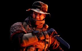Картинка gun, game, soldier, weapon, Battlefield, rifle, knife, uniform, seifuku, Battlefield 4, dagger, Battlefield IV