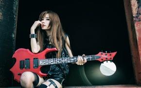 Обои музыка, девушка, гитара