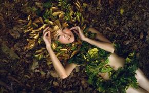 Картинка листья, девушка, стиль, модель, руки, макияж, азиатка