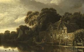 Картинка пейзаж, картина, Старый Крестьянский Дом у Воды, Michiel Van Vries