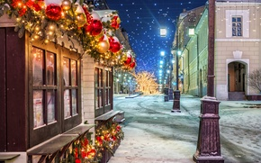 Картинка Зима, Ночь, Город, Снег, Новый Год, Улица, Фонари, Москва, Россия, Manezhnaya Square
