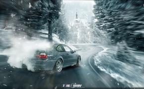 Картинка зима, car, машина, авто, лес, city, туман, гонка, bmw, бмв, тачка, дрифт, drift, спорт кар, …
