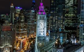 Картинка ночь, огни, часы, башня, дома, Чикаго, США, Иллинойс