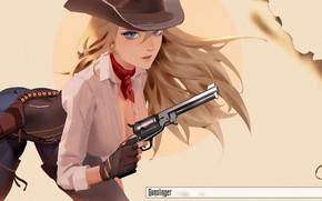 Обои anime, illustration, girls with guns, art, shirt, girl, Cowgirl, gun, weapon, blue eyes, pants, scarf, ...