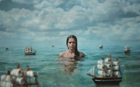 Обои облака, кораблики, вода, текстура, девушка, парусники, море, ситуация