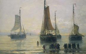 Обои парус, морской пейзаж, люди, Схевенингенские Рыбацкие Суда на Якоре, Хендрик Виллем Месдах, корабль, масло, лодка, ...