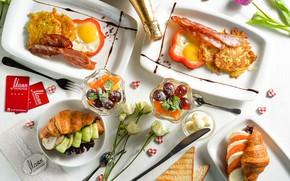 Картинка перец, яичница, тосты, круассан, драники