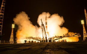 Обои NASA, Soyuz MS-08, старт