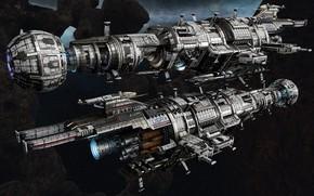 Картинка космос, корабли, звёзды, Fractured Space, USR Assassin