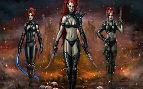 Картинка девушки, эльфы, черепа, art, warhammer 40k, eldar, dark eldar