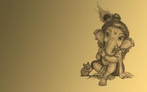 Картинка слон, мышь, флейта, ганеш