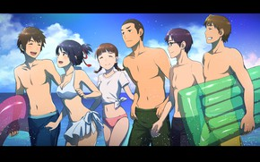 Картинка пляж, лето, девушки, арт, парни, kimi no na wa, miyamizu mitsuha, tachibana