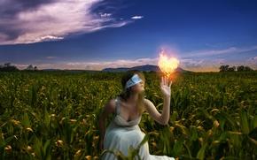 Картинка поле, девушка, природа, настроение, огонь, сердце, кукуруза, прикосновение, повязка