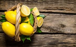 Обои корзинка, лимоны, доски