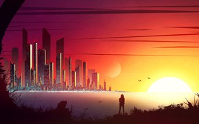 Картинка city, fantasy, sunset, science fiction, birds, sun, people, sci-fi, digital art, buildings, artwork, skyscrapers, fantasy …
