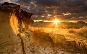 Картинка лучи, закат, скалы, Канада, Альберта, Dinosaur Provincial Park