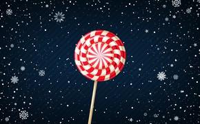 Картинка Зима, Минимализм, Снег, Новый Год, Фон, Леденец, Праздник, Настроение, Конфета