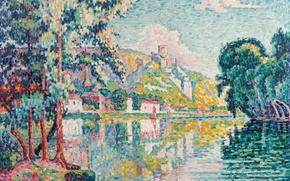 Картинка деревья, пейзаж, река, картина, Поль Синьяк, пуантилизм, Лез-Андели. Шато Гайар