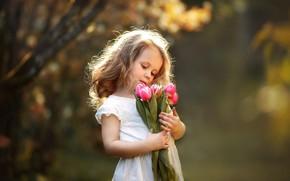 Картинка цветы, букет, девочка, тюльпаны, ребёнок, Anna Zinn