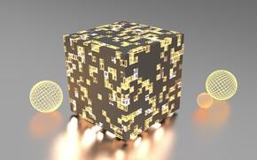 Картинка свет, абстракция, рендеринг, abstract, light, куб, render, cube, wireframe, blender3d, блендер3d, икосфера, icosphere