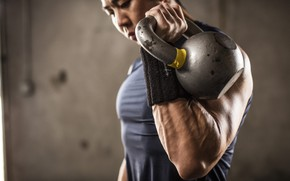 Картинка power, men, fitness, Russian dumbbell